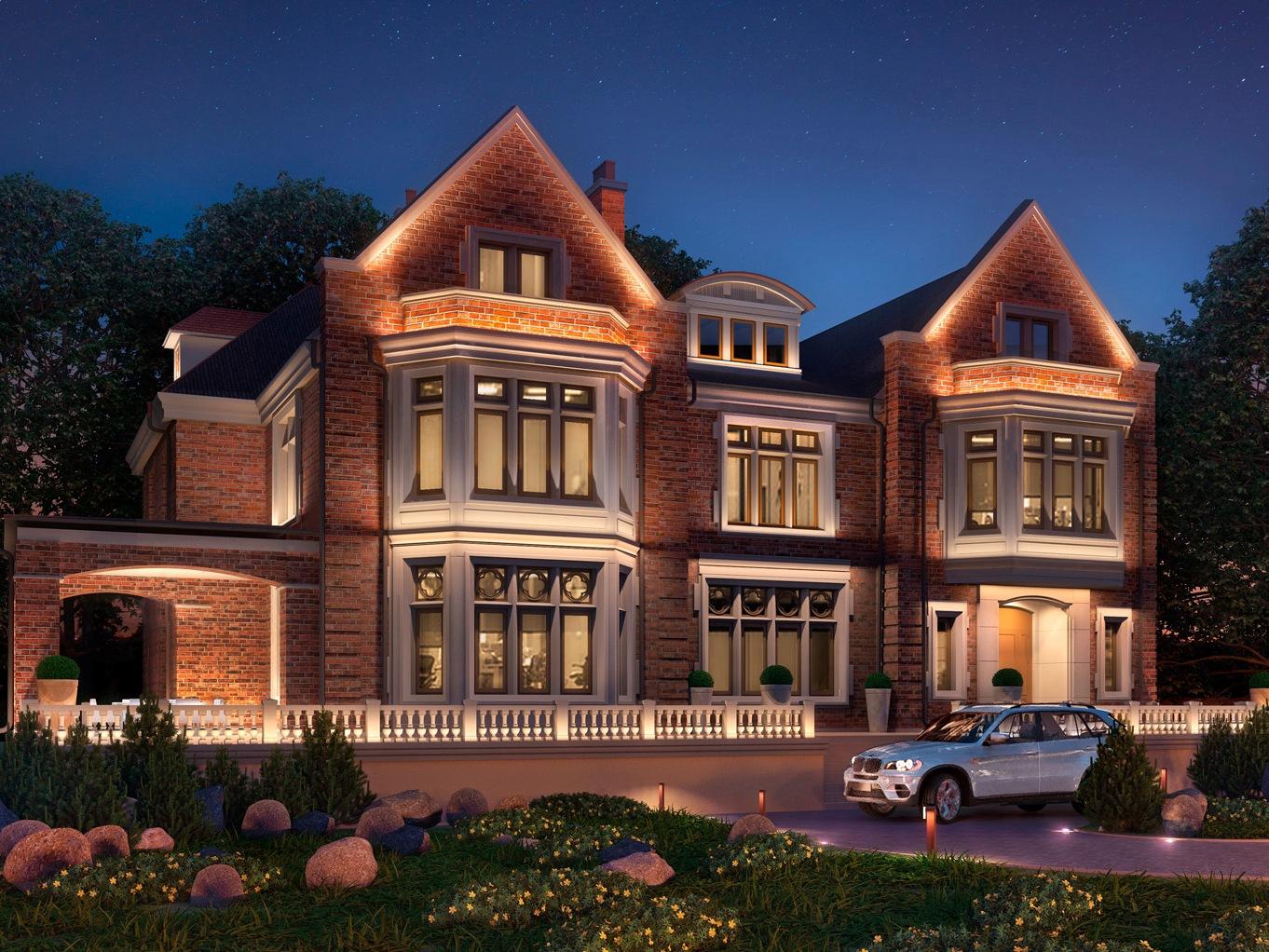 декоративная подсветка дома фасада