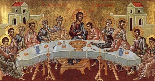 Тайная вечеря. На столе перед апостолами вино - кровь Бога (Иисуса) и хлеб тело Бога (Иисуса)