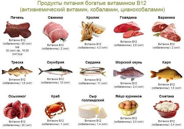 витамин в12 где содержится больше всего