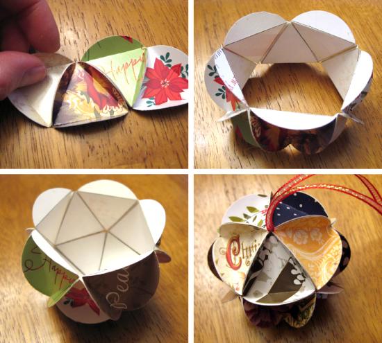 Фото как сделать елочную игрушку из бумаги 4