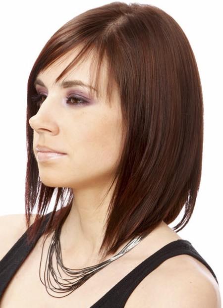 стрижки с челкой на среднюю длину волос фото
