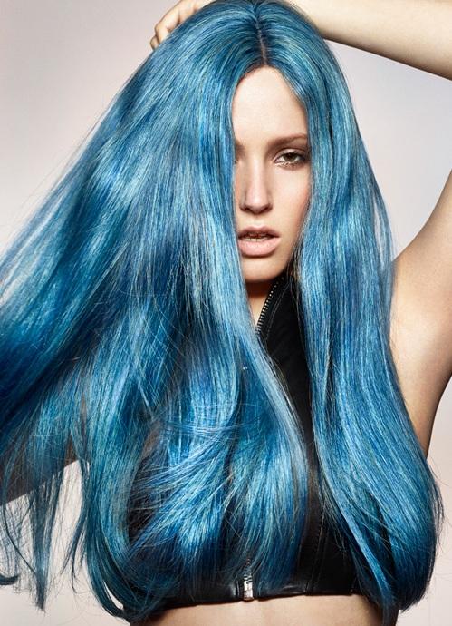 Синий тоник для волос на темные волосы