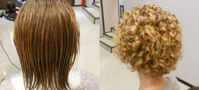 Фото биозавивки на средние волосы до и после