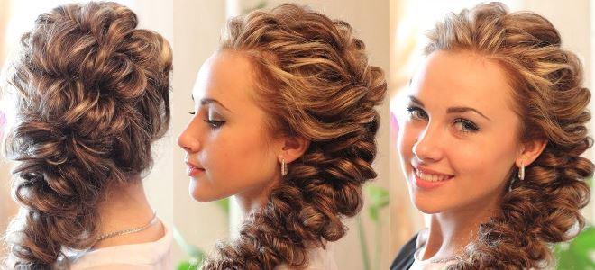 Объемная коса колосок