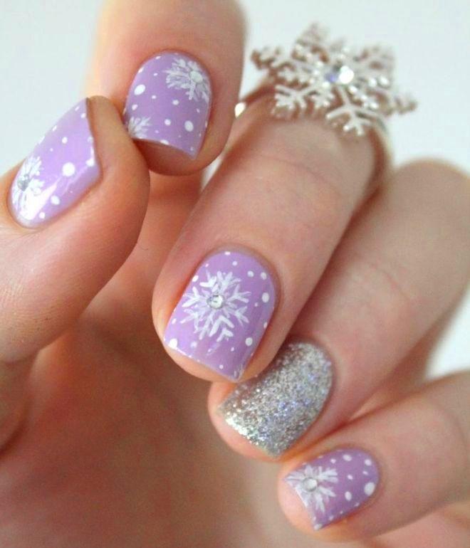 vinter manicure gel lak på korte negle 1
