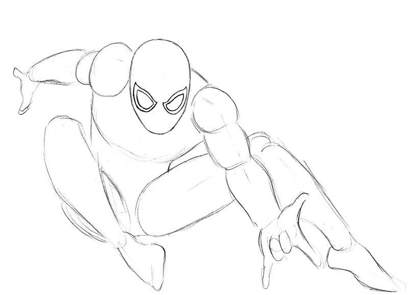 Рисунок человека паука карандашом в полный рост поэтапно судя