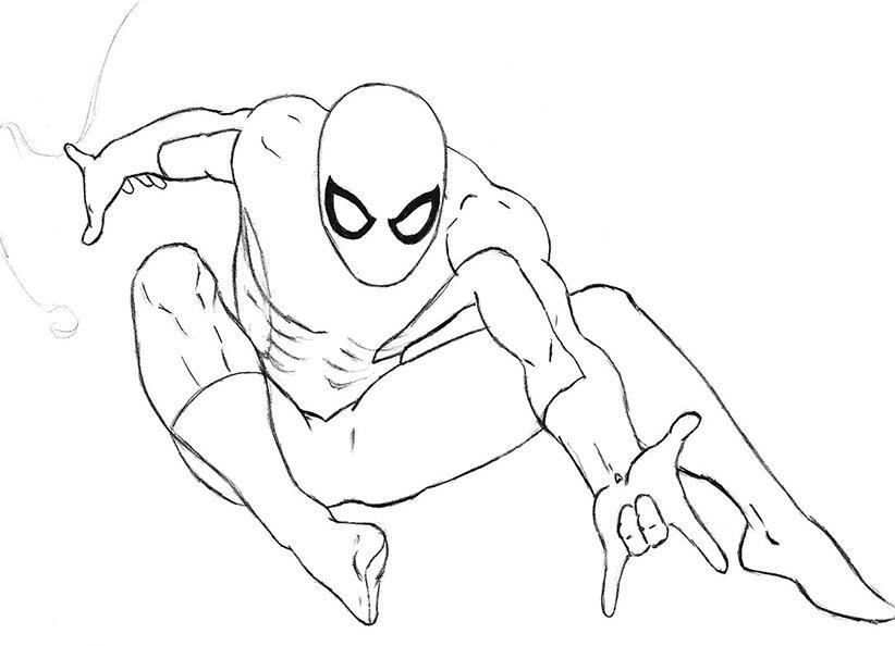 Рисунок человека паука карандашом