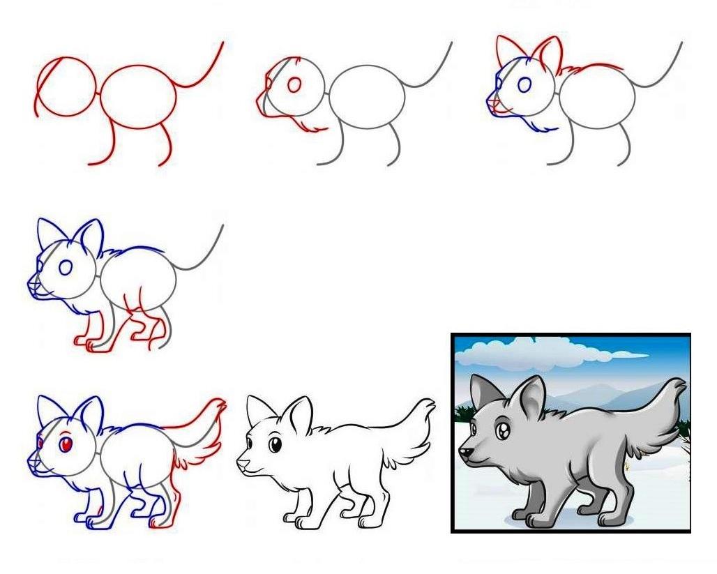 рисунки поэтапно животные волк теперь представляю, как