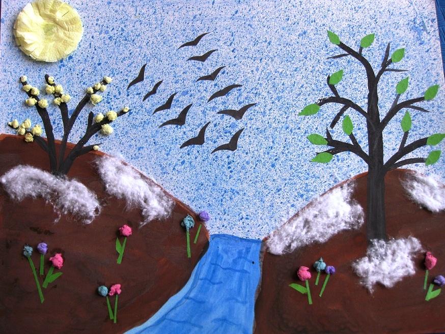 Марок, как сделать открытку на тему весна