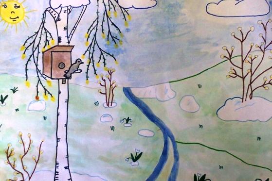 Рисунок весна 2 класс, девочке открытка