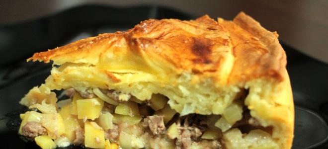 Пирог картошка с фаршем с жидким тестом