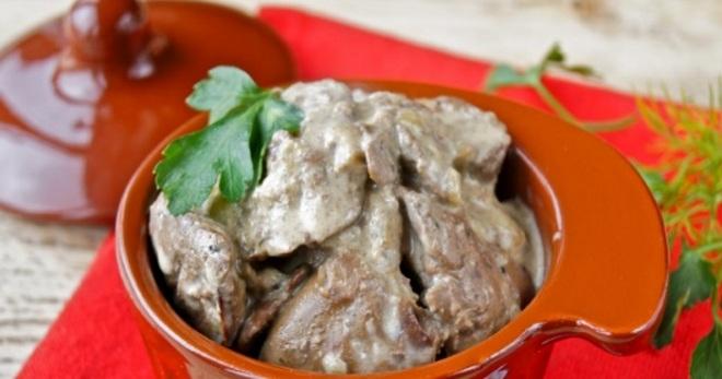 Печень говяжья тушеная в сметане простой рецепт 107