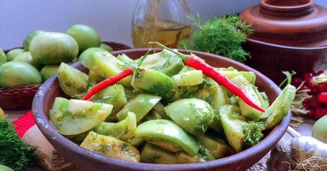зимний салат из помидоров зеленых