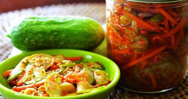 Салат из огурцов по-корейски без варки
