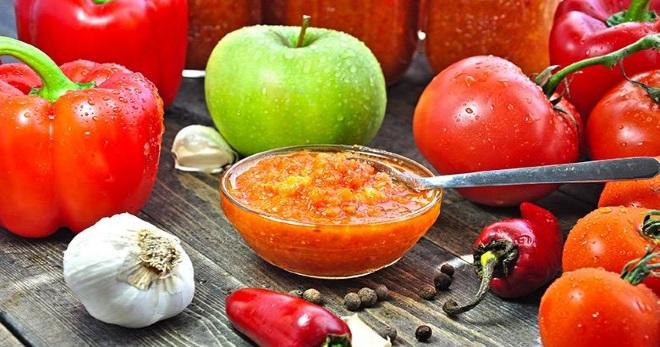 Аджика на зиму рецепты с яблоками без моркови