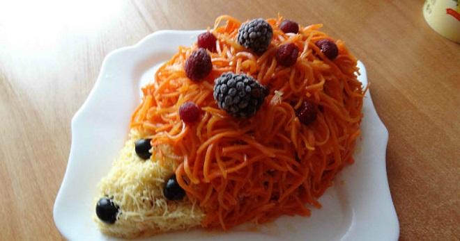 Салат «Ежик» - красивое и невероятное блюдо для праздника
