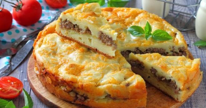 Заливной пирог с грибами и картошкой простой рецепт с фото