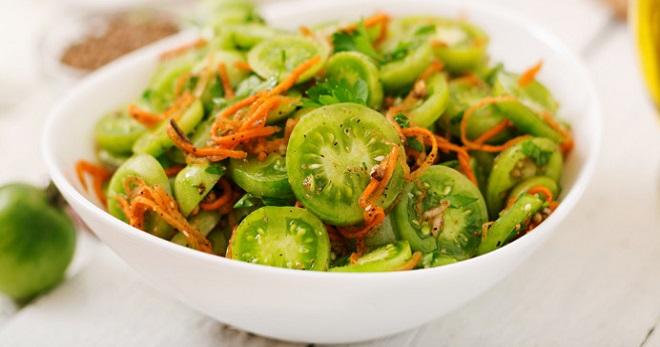 Зеленые помидоры по-корейски - бесподобная пикантная закуска!