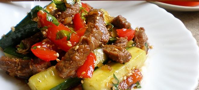 Мясо по корейски с овощами
