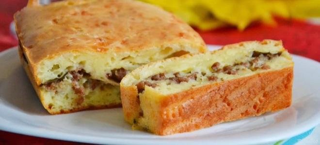 Пирог с мясом на кефире