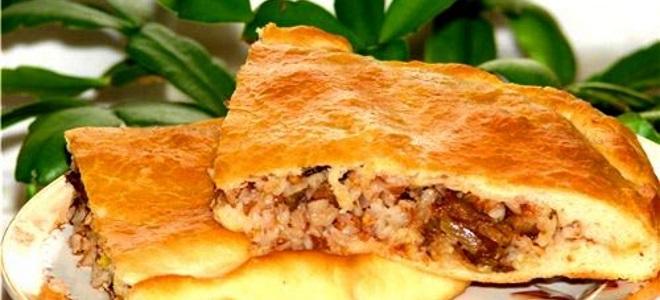 Мясной пирог с мясом и гречкой фото