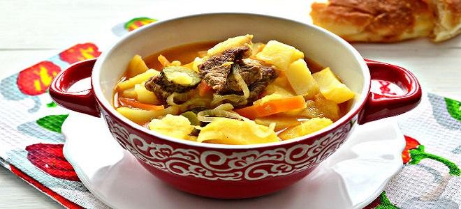 Рецепт азу из говядины с солеными огурцами