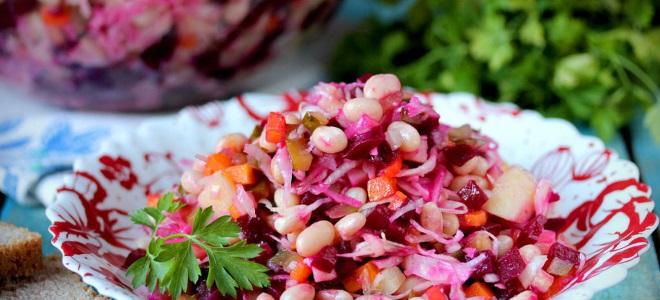 Рецепт винегрета с квашеной капустой и фасолью