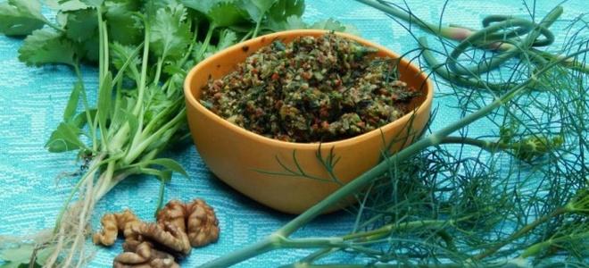рецепт зеленой аджики с грецким орехом