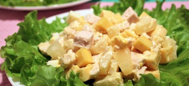 салат итальянский с курицей и ананасами