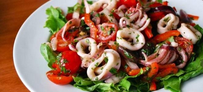 салат с кальмарами постный рецепт