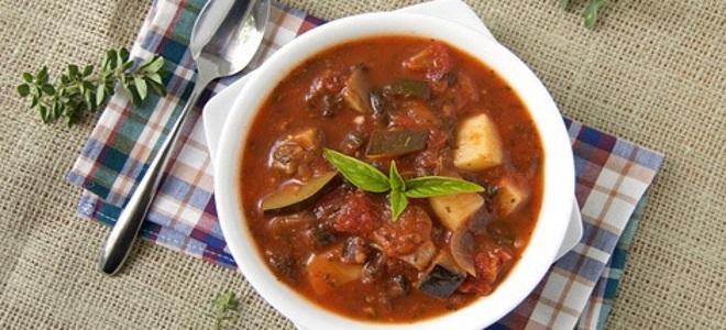 суп с баклажанами и помидорами по армянски