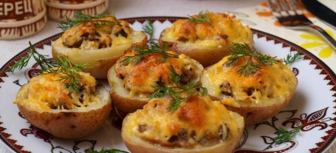 жульен в картошке с грибами и сыром