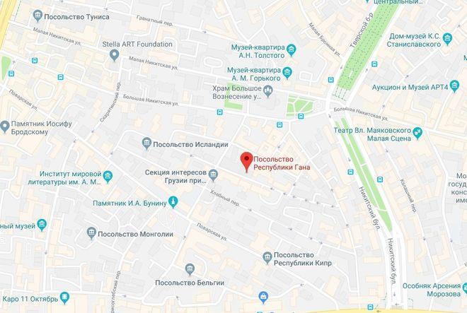 Посольство Ганы в России на карте Москвы