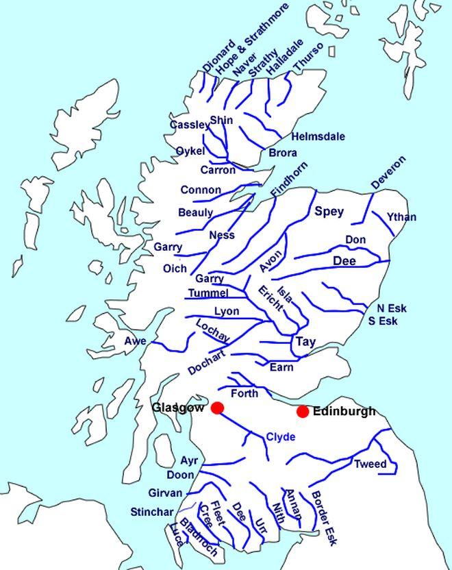 Реки Шотландии на карте