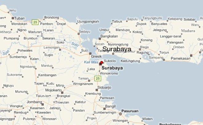 Сурабая на карте