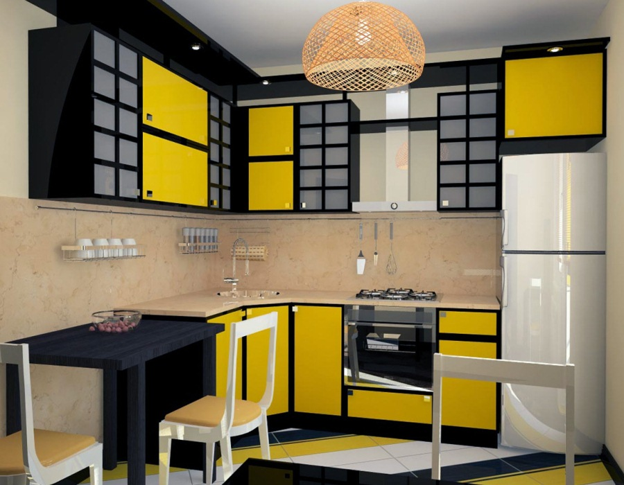 кухня желтая дизайн фото