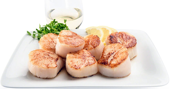 Морской гребешок – запеченный, маринованный, копченый, жульен, карпаччо и севиче с гребешком