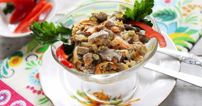 салат с говяжьей печенью и грибами домашние рецепты