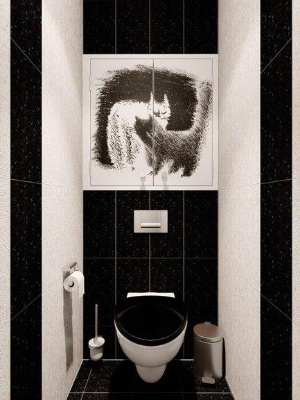 дизайн черно-белый туалет фото
