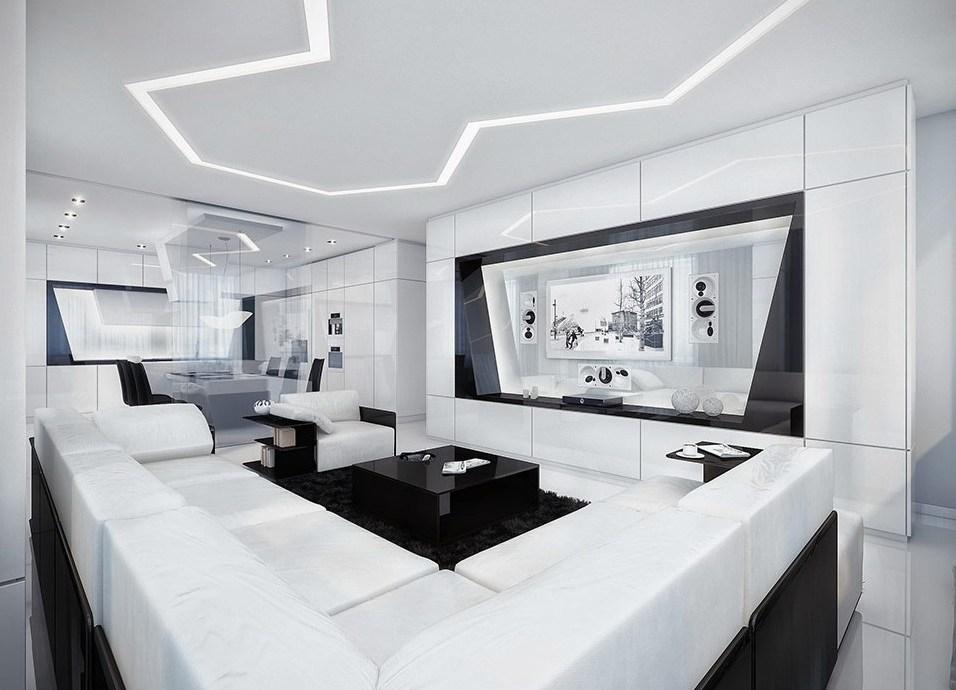 дизайн зала в чёрно белых тонах фото