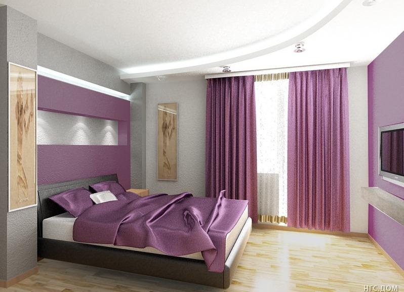 лиловая спальня фото дизайн