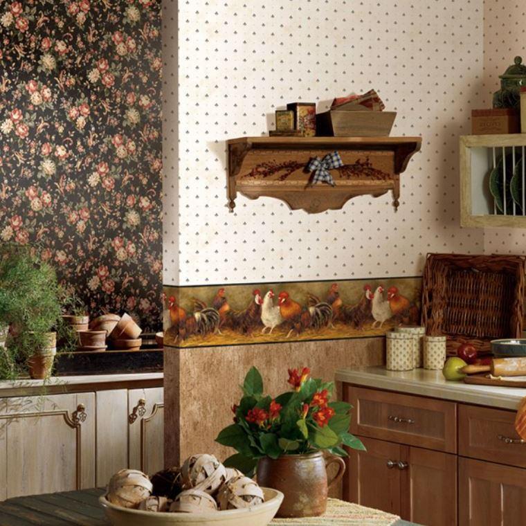 сочетание обоев на кухне фото комбинирование обоев
