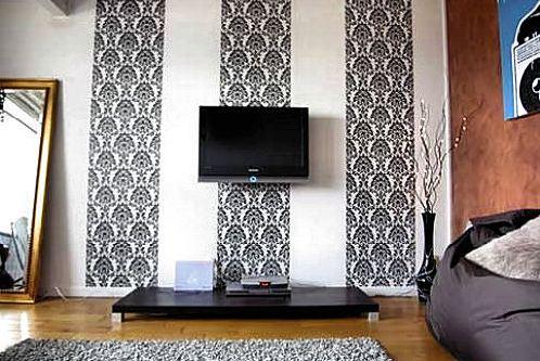 фото комбинированных обоев для зала