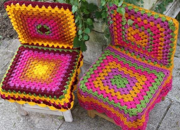Чехлы на стулья с узором из «кос» - схема вязания спицами 20
