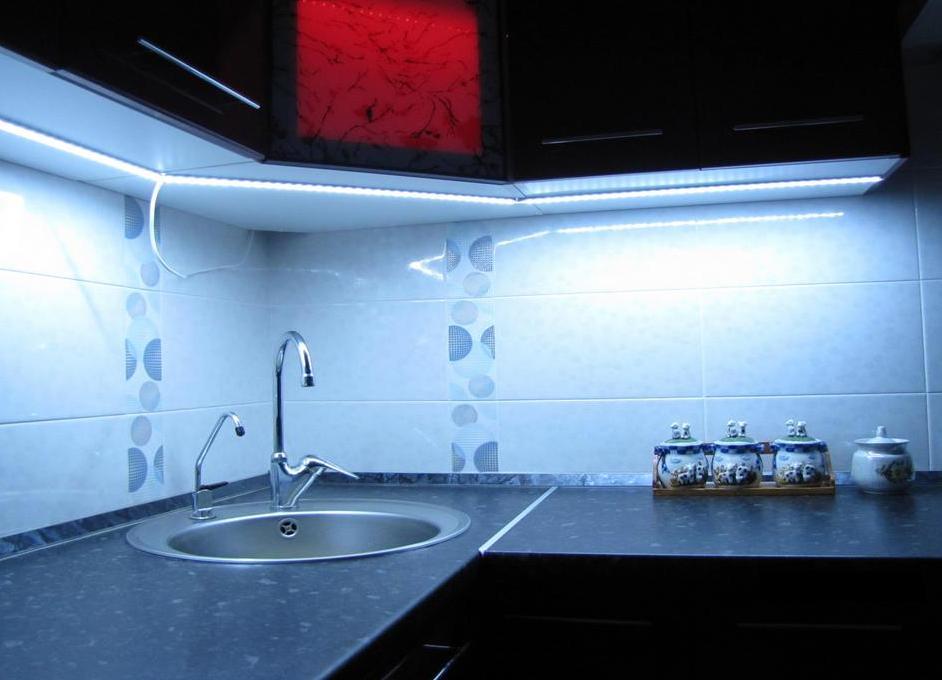 подсветка кухни светодиодной лентой фото спокойно