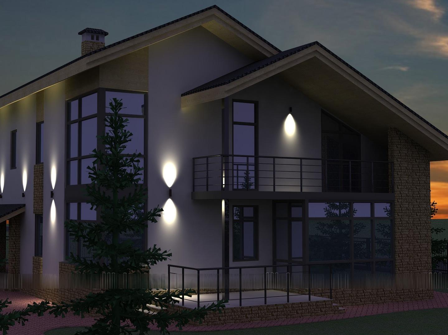 подсветка загородных домов