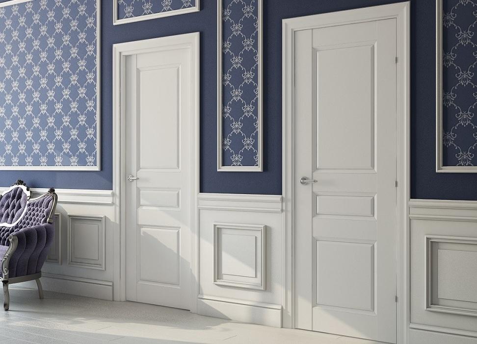 синие стены белые двери