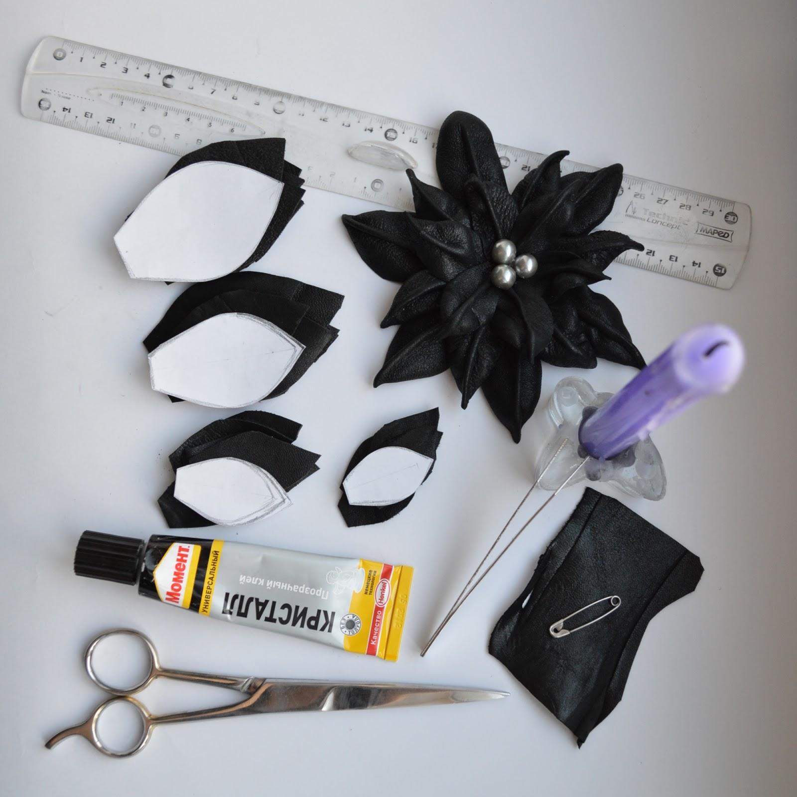 Как сделать цветок из кожи мастер класс 697
