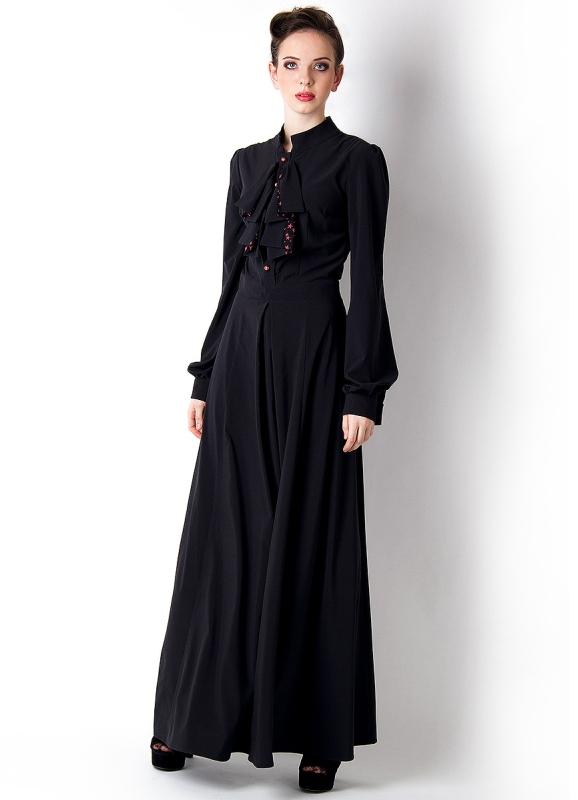 d7d73bb5db70 Черное платье с длинным рукавом