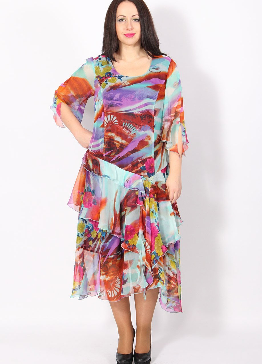 фото шифоновых платьев для полных на лето будет